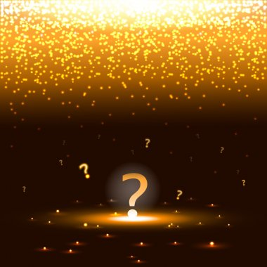 Glowing question mark with sparks