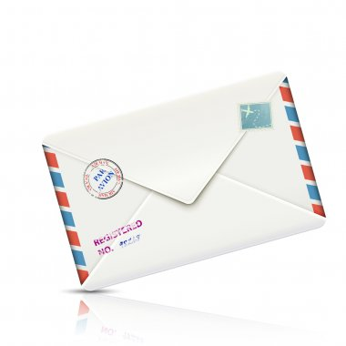 Old-fashioned Airmail Realistic Paper Envelope