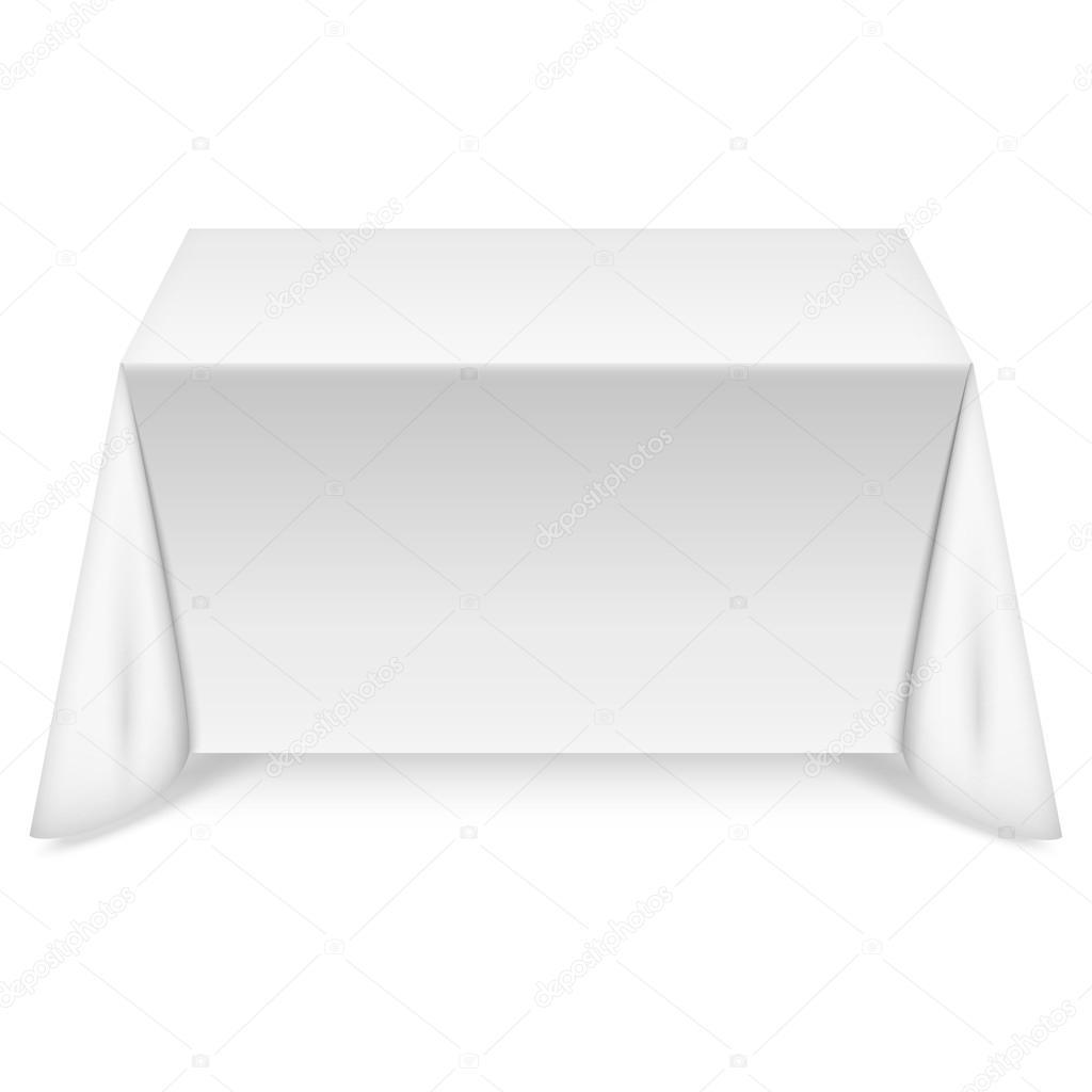 rechteckiger tisch mit weißer tischdecke — stockvektor, Esszimmer dekoo
