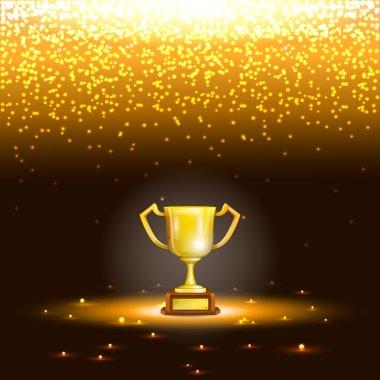 Winner Cup With Spark Rain.