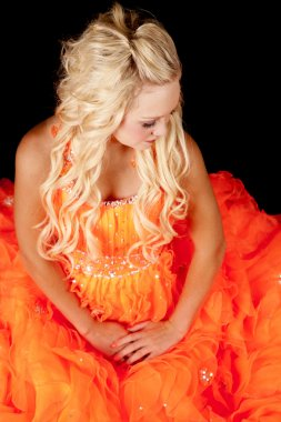 orange dress look down