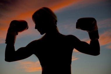 Silhouette boxer flexing