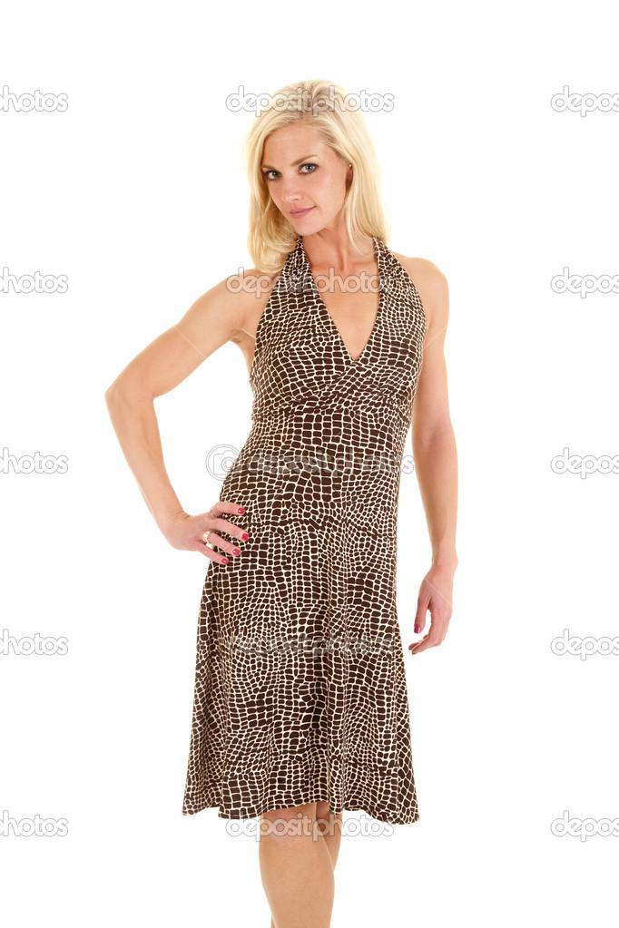 8e5eb89da vestido manchado sonrisa soporte — Foto de stock © alanpoulson  13992318