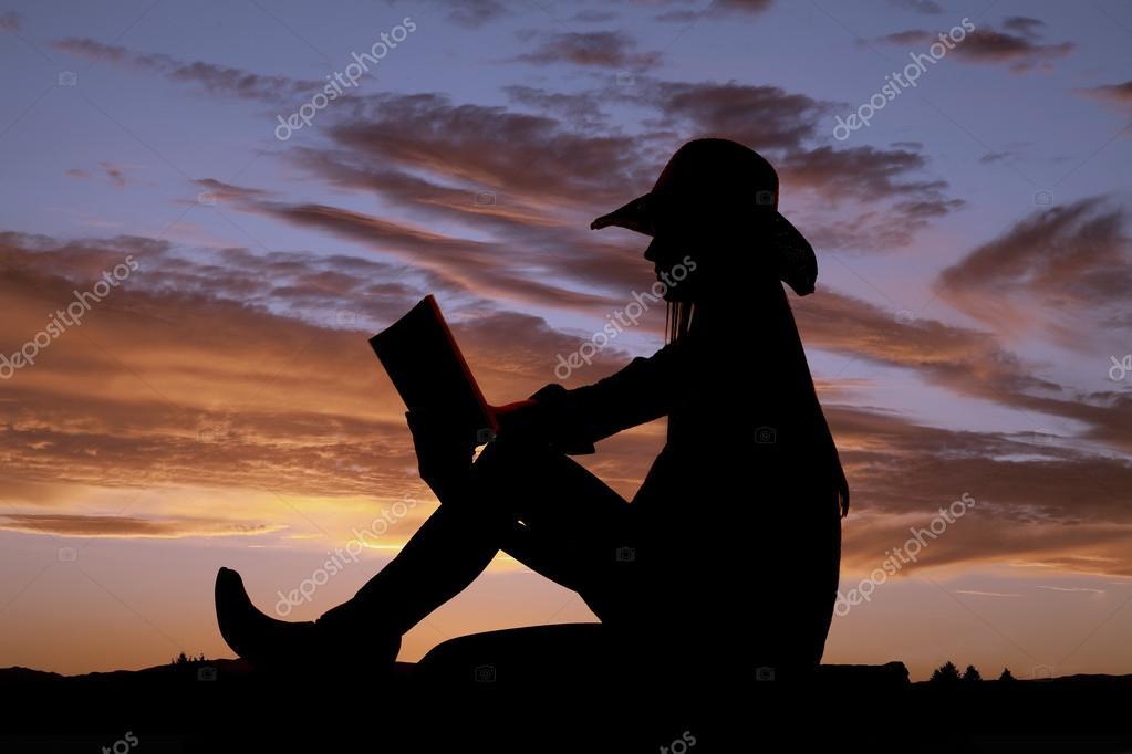 read book silhouette sit