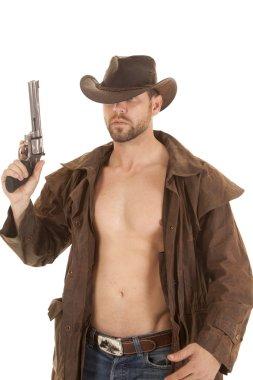 pistol up brown jacket
