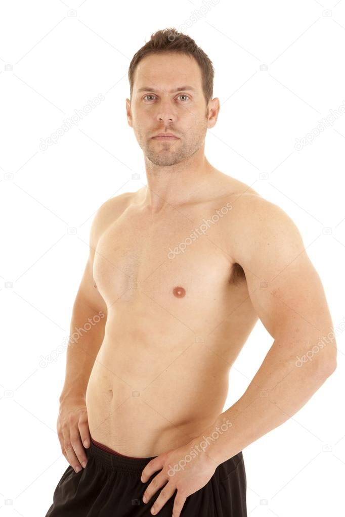 No Shirt Hands On Hips Stock Photo C Alanpoulson 18534435