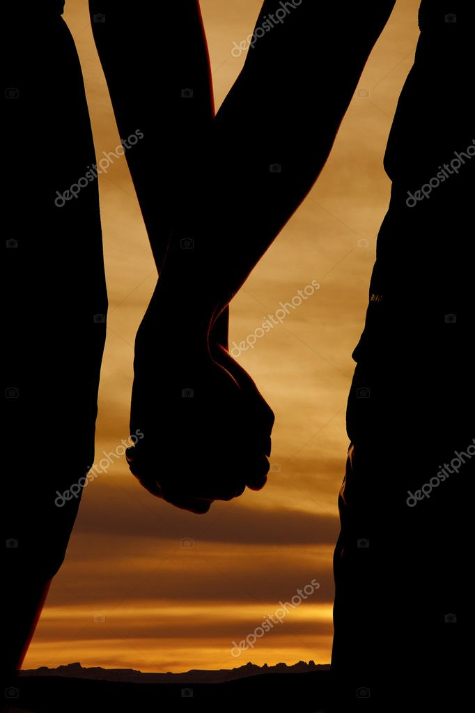 silhouett hold hands