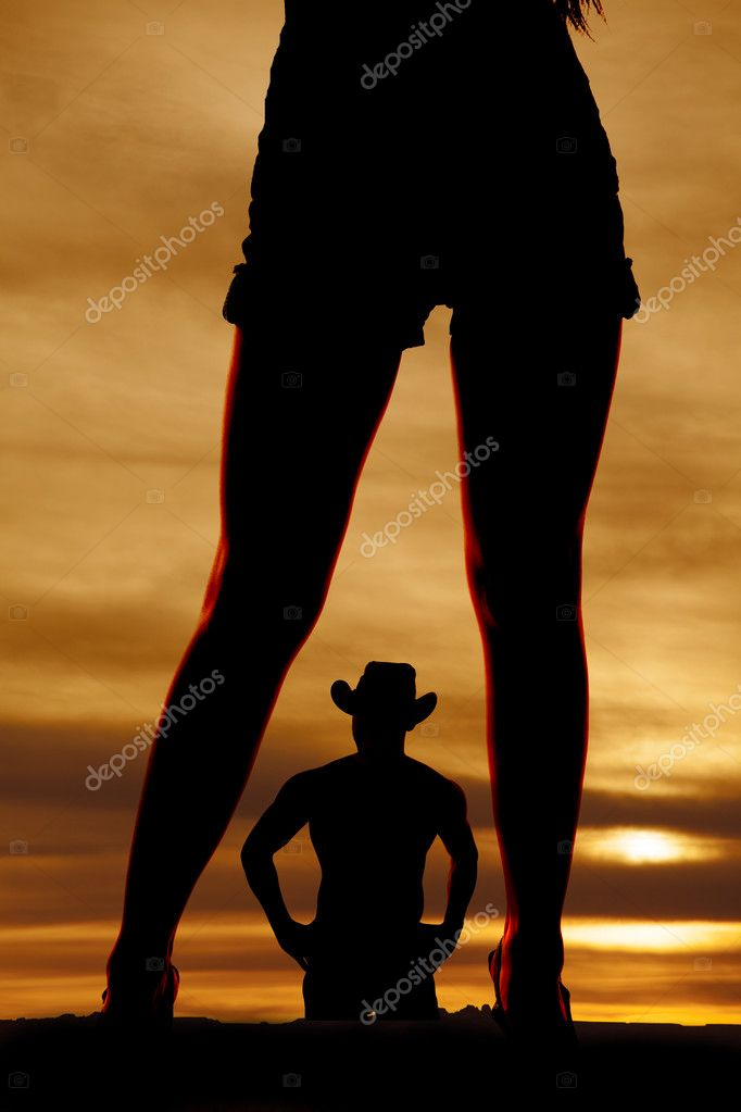 silhouette woman legs front with man