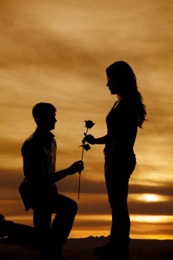Silhouette of man on knee hand woman rose