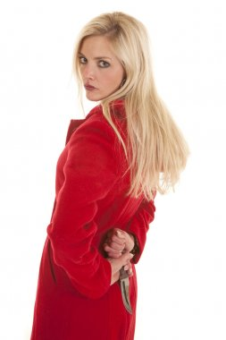 Woman red jacket knife behind back