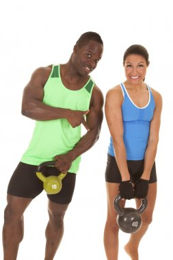 man and woman fitness him pointing