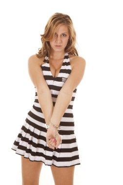 Woman jail handcuffs look hands down