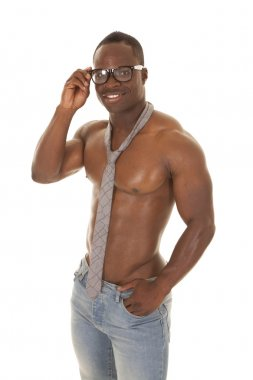 strong man no shirt tie hold glasses