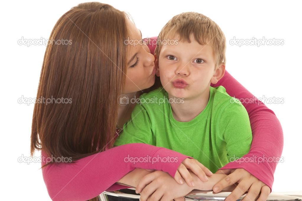 Girl And Young Boy Kiss Face Stock Photo Alanpoulson 30104769