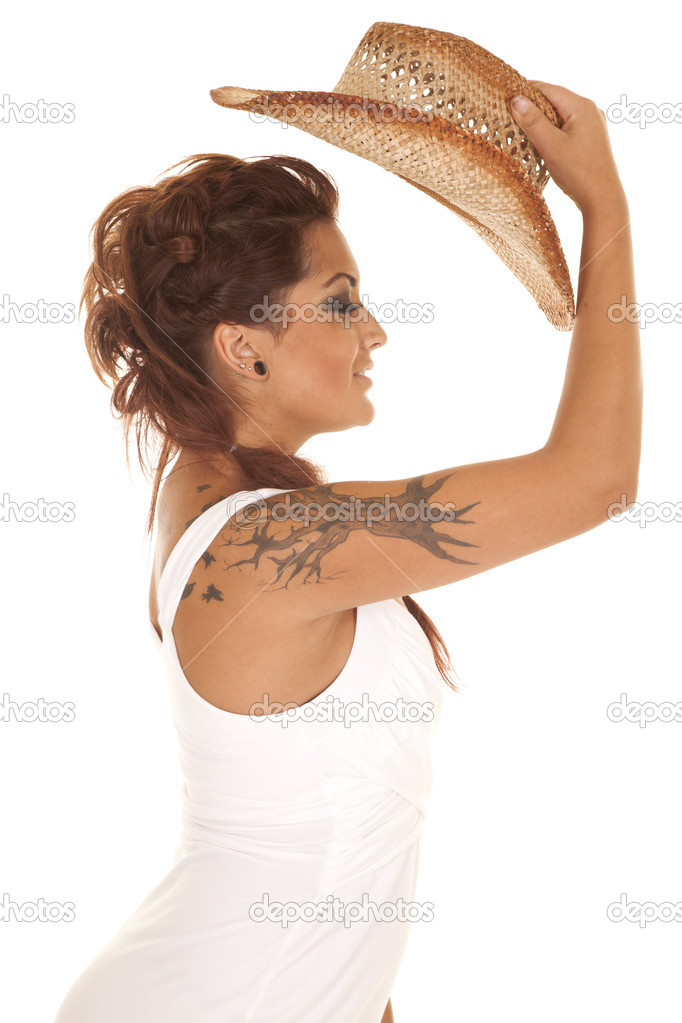 Femme Tatouages Ebauchee Le Chapeau De Cowgirl Photographie