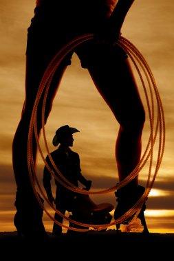silhouette woman legs rope side
