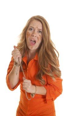 Woman inmate cuffs mad