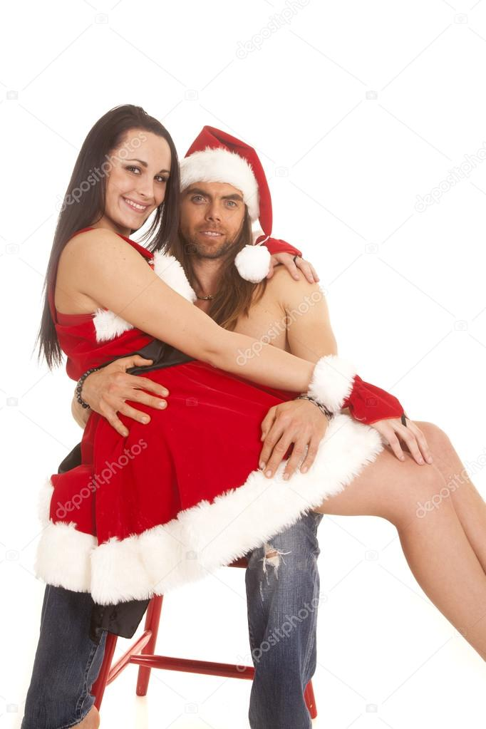 santa couple sit on lap smile stock photo alanpoulson 37469933. Black Bedroom Furniture Sets. Home Design Ideas