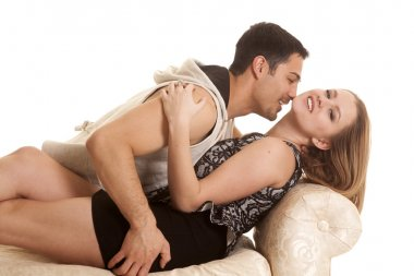 Woman lay head back man by neck smile