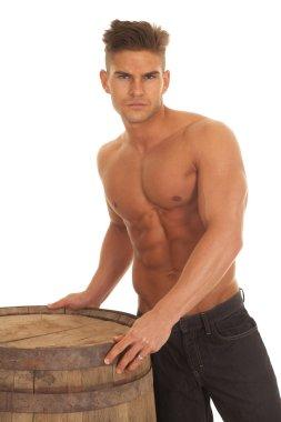 man strong no shirt barrel touch serious