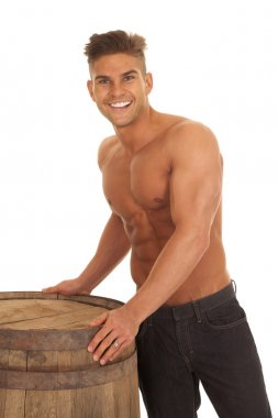 man strong no shirt barrel touch smile