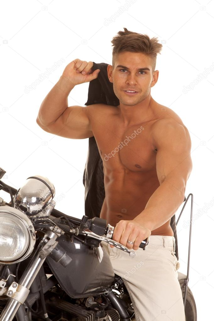 Man no shirt jacket over shoulder on motorcycle — Stock Photo ...