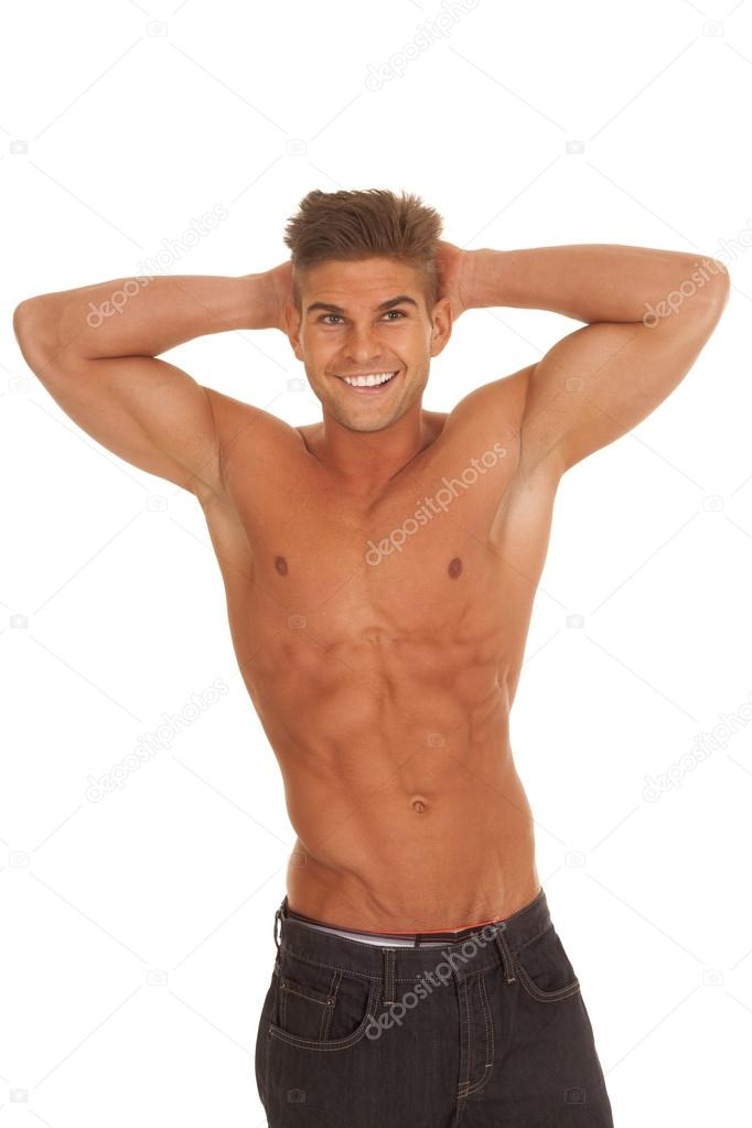 Strong Man Hands Behind Head No Shirt Smile Stock Photo