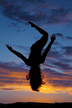 Silhouette woman legs arms up fall