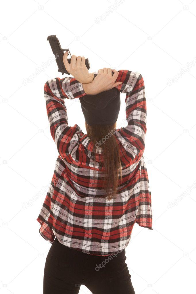 mujer en pistola espalda camisa gorrita tejida y cuadros — Foto de ...