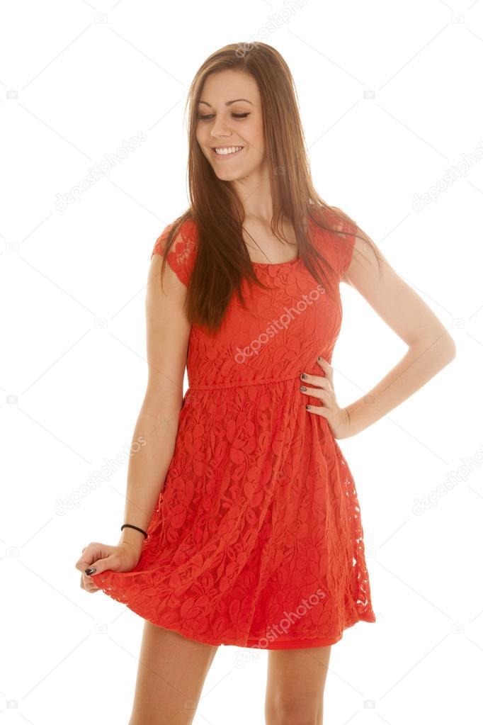 new arrival bc2e5 f9222 Pizzo abito donna rosso tenere basso — Foto Stock ...