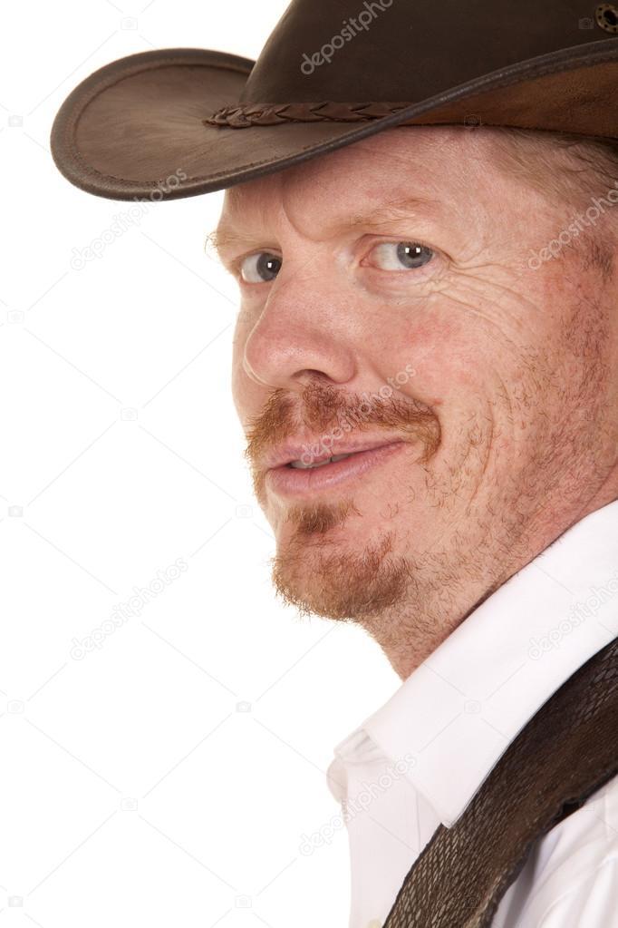 69da631b2d18e Lado de colete e chapéu de cowboy olha smirt — Fotografia de Stock