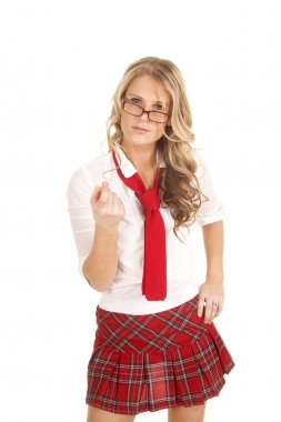 School girl red glasses come here