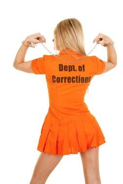 prisoner orange back arms up handcuffs