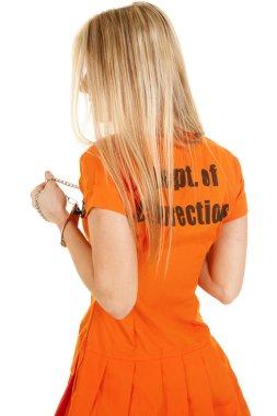 Prisoner orange back close look to side