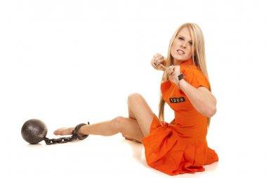 prisoner orange ball cuffs sit mad