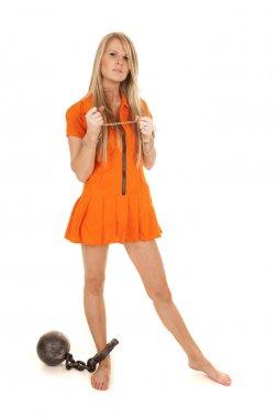 prisoner orange ball cuffs stand