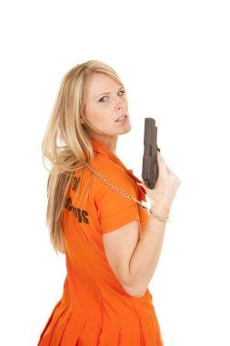 prisoner orange gun over side look
