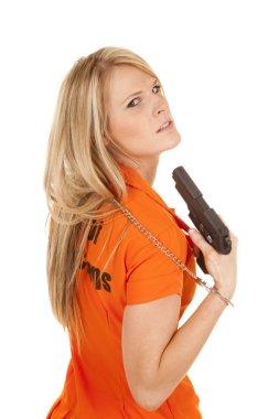 prisoner orange gun point head