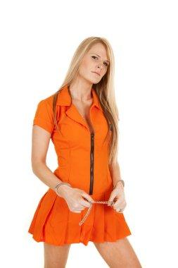 prisoner orange handcuff stand serious