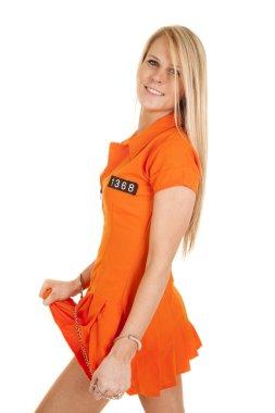 prisoner orange handcuffs play with skirt