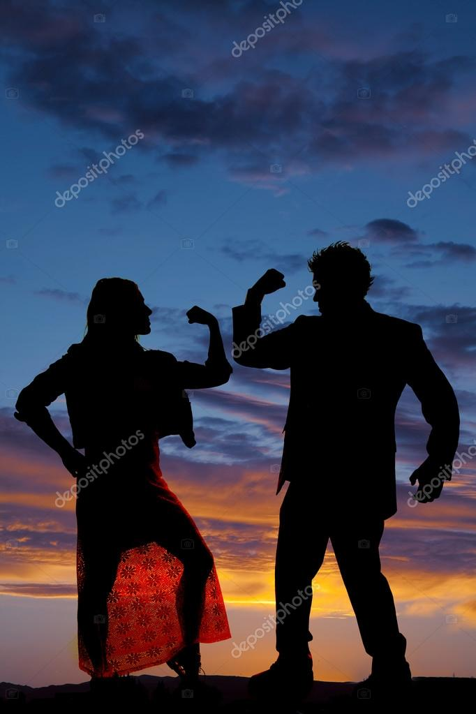 silhouette man woman facing each other both flex one arm