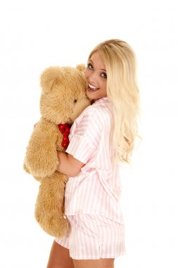 Woman hugging her bear