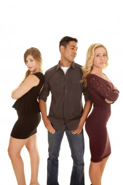 man between two women look to side