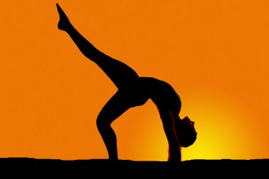 silhouette of woman dancing back bend one leg up