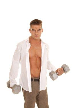 man white dress shirt unbuttoned weights look
