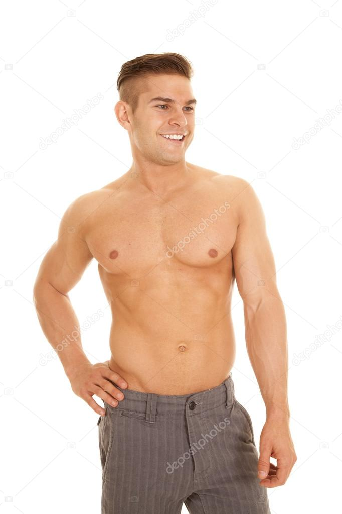 Man Slacks No Shirt Look Side Stock Photo C Alanpoulson 49821353