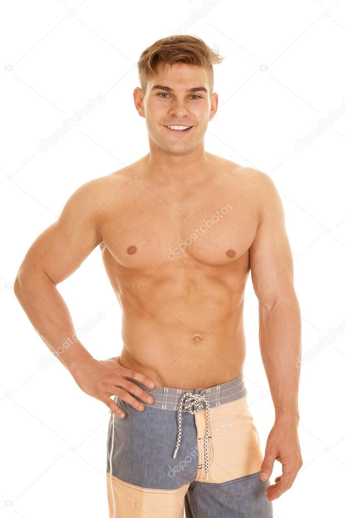 Man Square Shorts No Shirt Look Smile Stock Photo C Alanpoulson