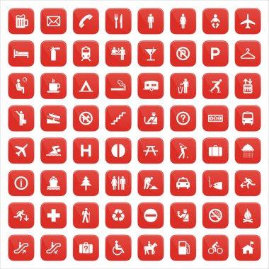 Red pictogram set