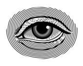 Fotografie vektorové ilustrace lidského oka ve stylu retro ryté