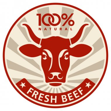 Label with the head of a cow